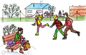 Детские рисунки на тему зимние виды