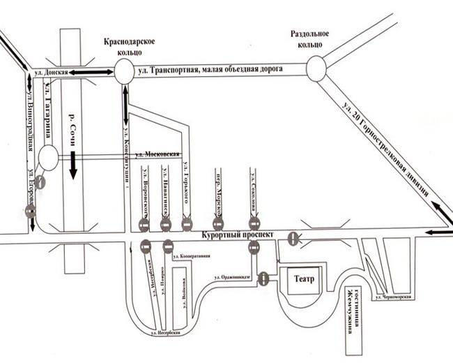 26 Апрель, Четверг, 2012 г. Произошли изменения схемы движения транспорта в Центральном районе Сочи.